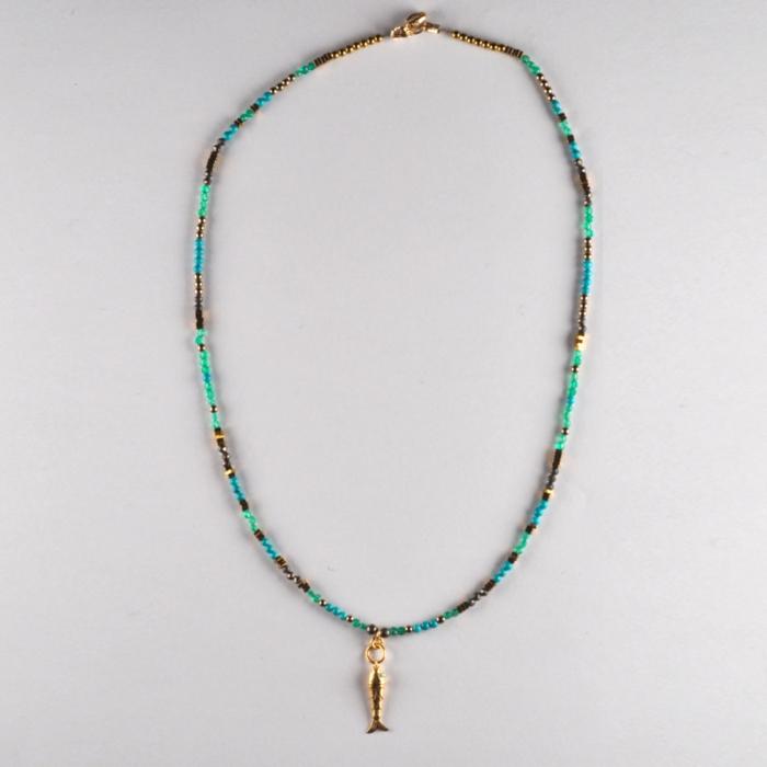 collier Poisson Turquoise